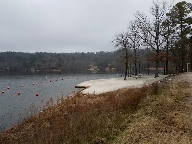 Desoto Beach at Lake Desoto in Hot Springs Village, Arkansas, Wintertime (photo courtesy Karen Perry)