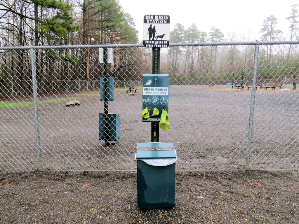 Hot Springs Village DeSoto Dog Park has several waste stations with plastic bags for pet clean up and a receptacle to deposit waste.