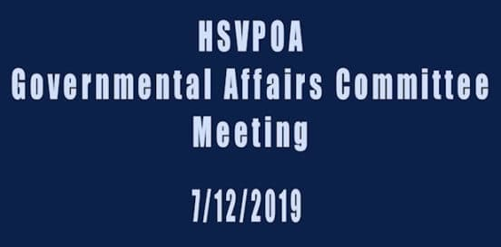 hsvpoa governmental affairs committee meeting july 12, 2019
