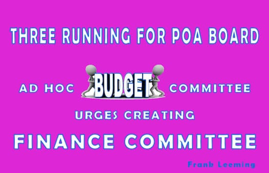 ad hoc budget urges creating finance committee three for poa board