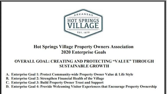 hot springs village poa Enterprise Goals 2020