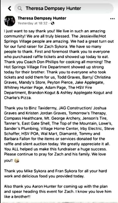 Teresa Hunter update on Zach Sykora fundraiser cookout and raffle