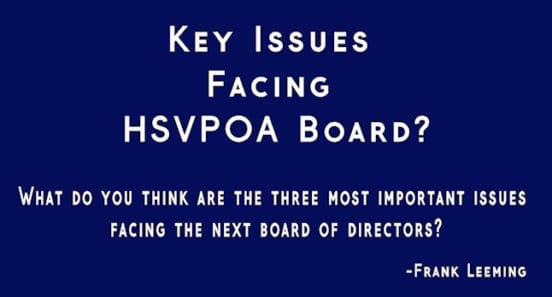 key issues facing board hsvpoa