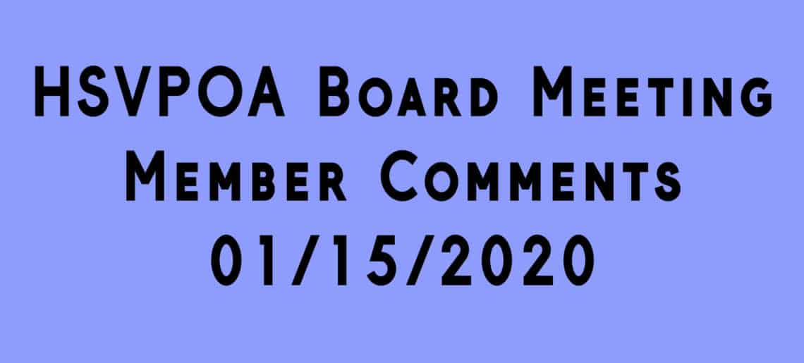 hsvpoa board meeting audience comments 01-15-2020