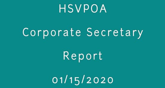 corporate secretary report 01-15-2020 hsvpoa