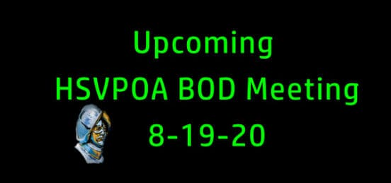 Upcoming HSVPOA BOD Meeting to be held on 8-19-20
