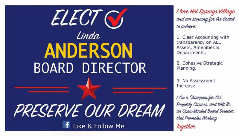 Hot Springs Village Linda Anderson Board Candidate