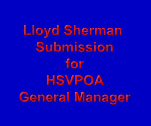 Hot Springs Village POA Submission for General Manager Lloyd Sherman