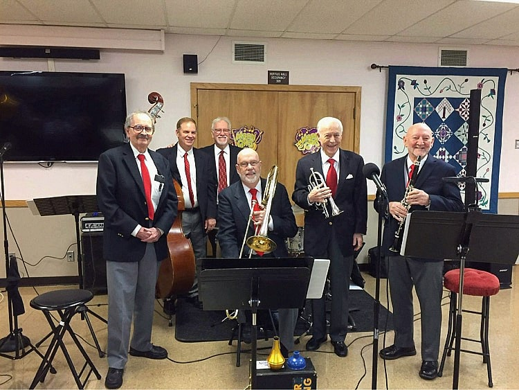 From left to right, Clyde Pound-keyboard, David Higginbotham- bass, C E Askew-drums, John Leisenring- trombone, Doc Ryan- trumpet, and Earl Hesse- sax
