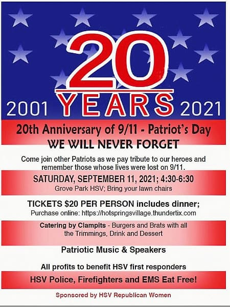 20 years anniversary 9-11 patriot day dinner in hot springs village