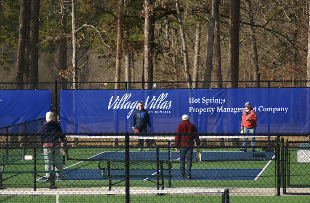 Phot of four hot springs village pickleball players